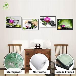 zen peinture a l39huile promotion achetez des zen peinture With affiche chambre bébé avec huile fleur de tiaré