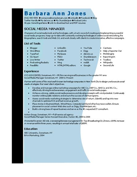 resume template microsoft word microsoft word social media manager resume template resumes and cv templates ready made