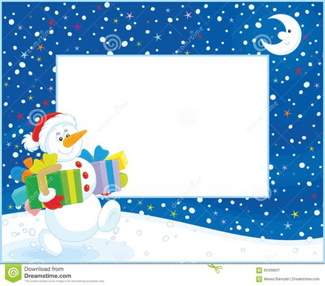 border  christmas snowman stock illustration image