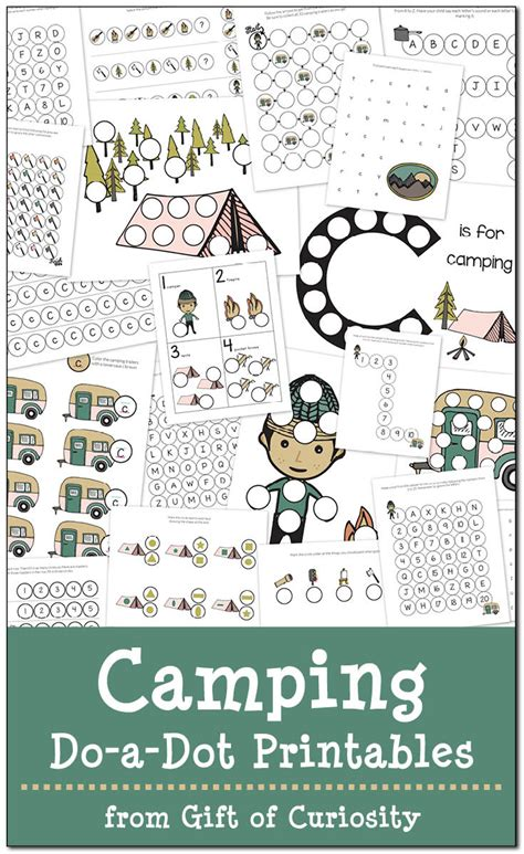 camping   dot printables pack  homeschool