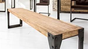 Banc Metal Bois : banc industriel et moderne en bois et m tal 160 cm jorg gdegdesign ~ Teatrodelosmanantiales.com Idées de Décoration