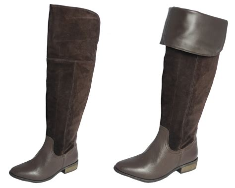 Womens Ladies Asos Suede Leather Over Knee Thigh Length