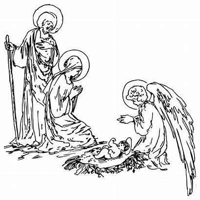 Nativity Clip Christmas Clipart Domain Scene Angel