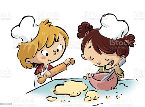Niños Cocinando Stock Vector Art & More Images of 2015