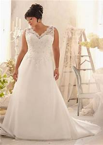 princess a line v neck organza lace plus size wedding With a line wedding dresses plus size