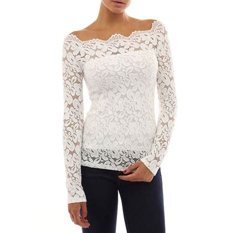 Womens Off Shoulder Floral Lace Blouse Shirt Evening