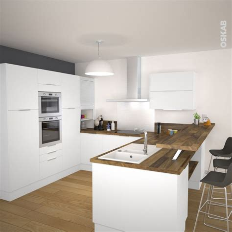 cuisine effet bois cuisine blanche porte effet touch ginko blanc mat