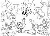 Coloring Insects Children Printable Insect Bug Preschool Spring Nature Bees Ants Kindergarten Butterfly sketch template
