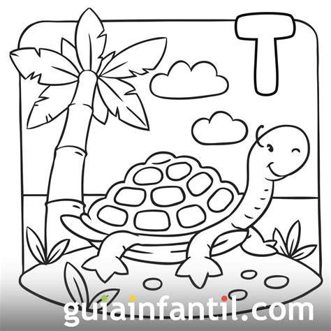 Tortuga en una isla tropical Dibujo para colorear