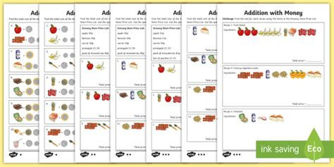 addition with money differentiated worksheet activity sheets