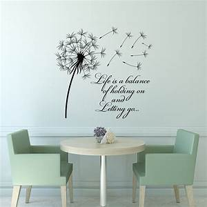 dandelion wall decal quote life is a balance holding on With vinyl lettering wall art