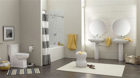 modern bathroom design grey striped curtain home