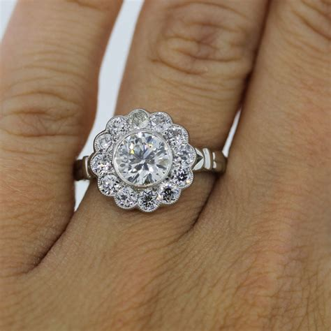 wedding rings with flower engagement rings boca raton platinum 1 15ct old european cut diamond flower