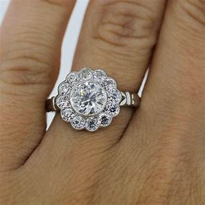engagement rings boca raton platinum 115ct old european With flower wedding rings diamond