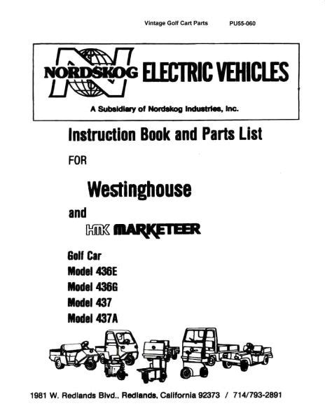 Parts Manual Vintage Golf Cart