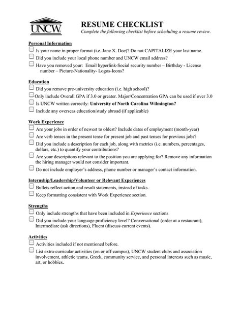 Name Your Resume by Resume Checklist