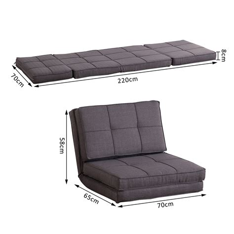 homcom foldable single sofa bed grey aosom co uk