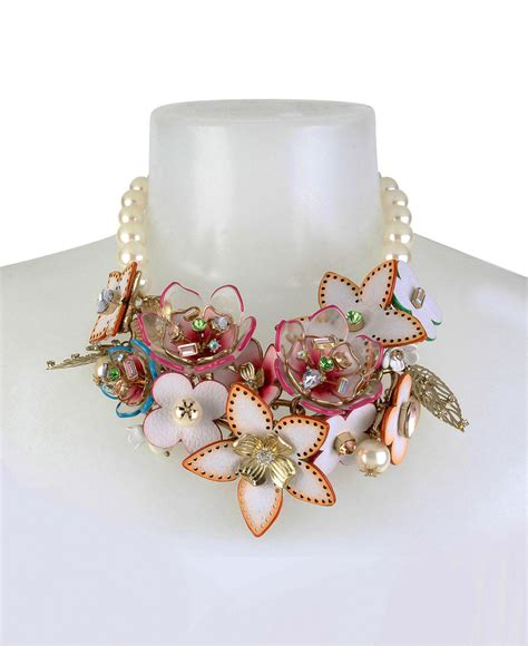 lyst betsey johnson flower faux pearl statement necklace
