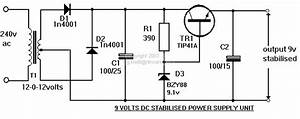 Electronic Hobby Circuits  9 Volts Dc Power Supply Circuit Diagram