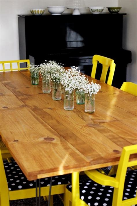 diy dining table  trendy hairpin legs shelterness