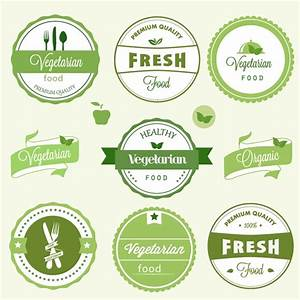 Simple vegetarian label – vector material | My Free ...