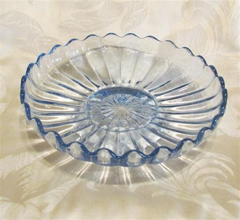 1940s Candy Dish Blue Depression Glass Candle Holder