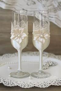 Flûtes à Champagne Originales : ideas de copas decoradas para brindis de los novios ~ Teatrodelosmanantiales.com Idées de Décoration