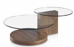 Plateau Verre Rond : table basse bois plaqu noyer et plateau verre rond kalan ~ Teatrodelosmanantiales.com Idées de Décoration