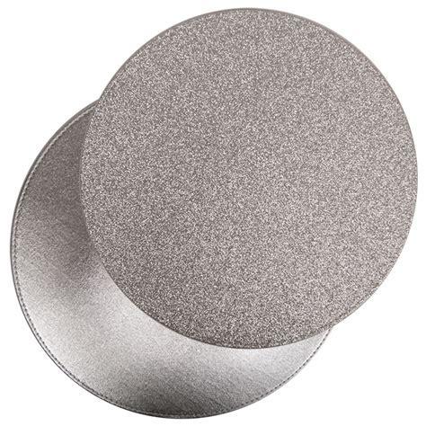 Modern Stylish Round Reversible Glitter Placemats Coasters