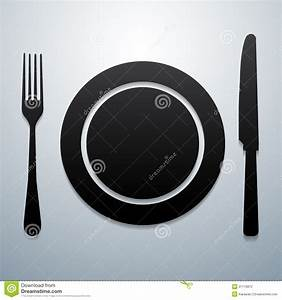 Plate Knife And Fork Stock Vector  Illustration Of Dinner