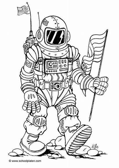 Coloring Sheets Kleurplaten Astronaut