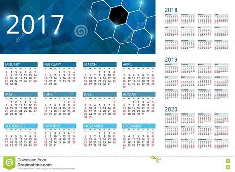 Calendar For 2017, 2018, 2019, 2020. Week Starts Sunday