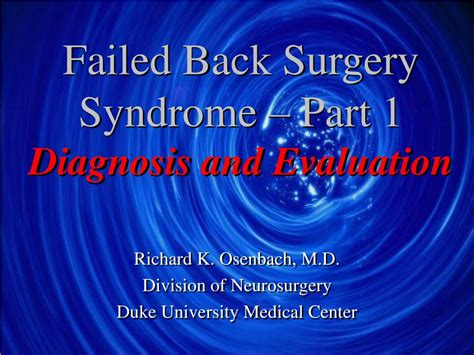 failed  surgery syndrome part  diagnosis