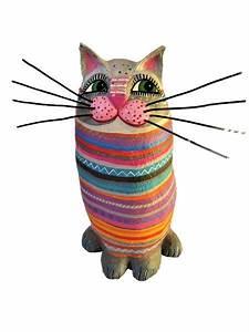 Steine Bemalen Katze : deko objekte katze h ca 30cm pappmache ein designerst ck von villaazula bei dawanda ~ Watch28wear.com Haus und Dekorationen