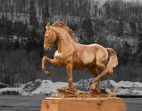 horse carving  jeff samudosky beautiful wooden
