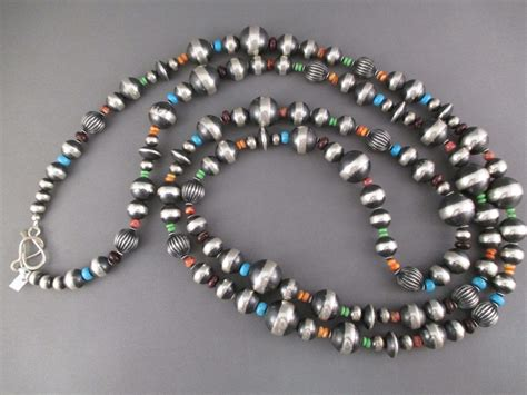 multi stone oxidized sterling silver bead necklace jewelry