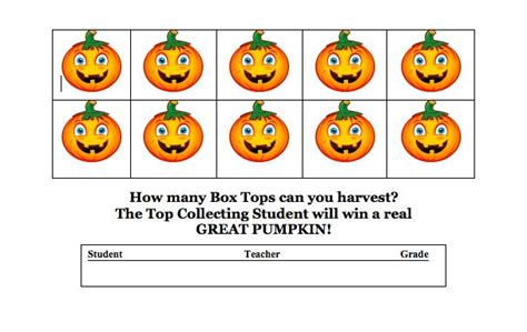 turkey template for box tops halloween themed box tops collection sheets from the pto