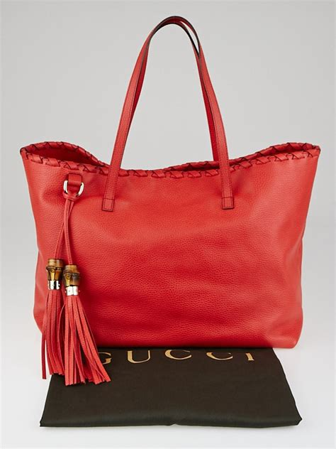 gucci red pebbled leather bamboo tassel tote bag yoogis
