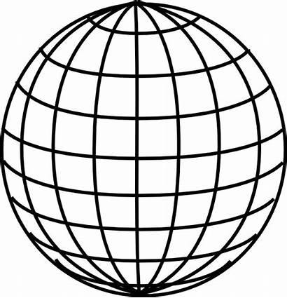 Globe Grid Clipart Clip Map Clear Outline