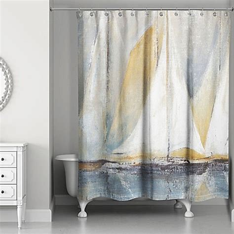 Designs Direct Sailboats Shower Curtain In Bluewhite