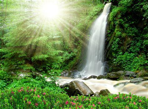 waterfall, Rays, Of, Light, Nature Wallpapers HD / Desktop ...