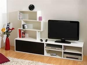 Meuble Tv Mural Blanc : meuble tv mural albajo coloris noir et blanc ~ Dailycaller-alerts.com Idées de Décoration