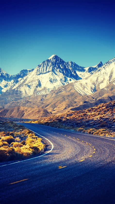 sierra nevada hdr mountains road iphone wallpaper iphone
