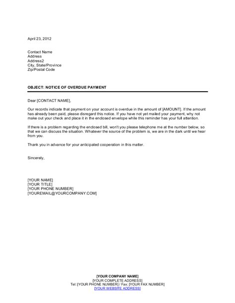 notice  overdue payment payment letter reminder template