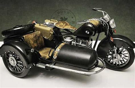 Black Large Scale Tinplate Bmw R71 Three-wheeled