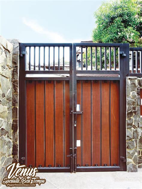 pagar besi kombinasi kayu pagar besi tempa klasik