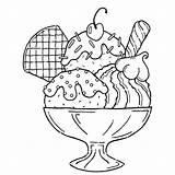 Ice Cream Coloring Sundae Printable Cone sketch template