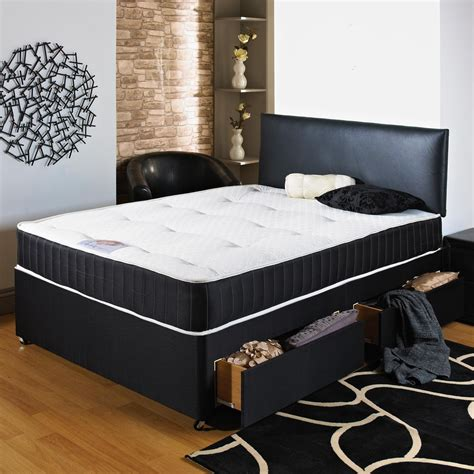 Dont Miss Out Black Upholstered Divan Bed With Mattress