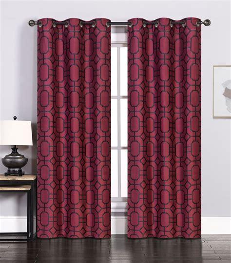 pair of maritza jacquard burgundy black window curtain
