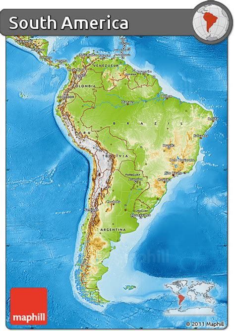 physical map  south america